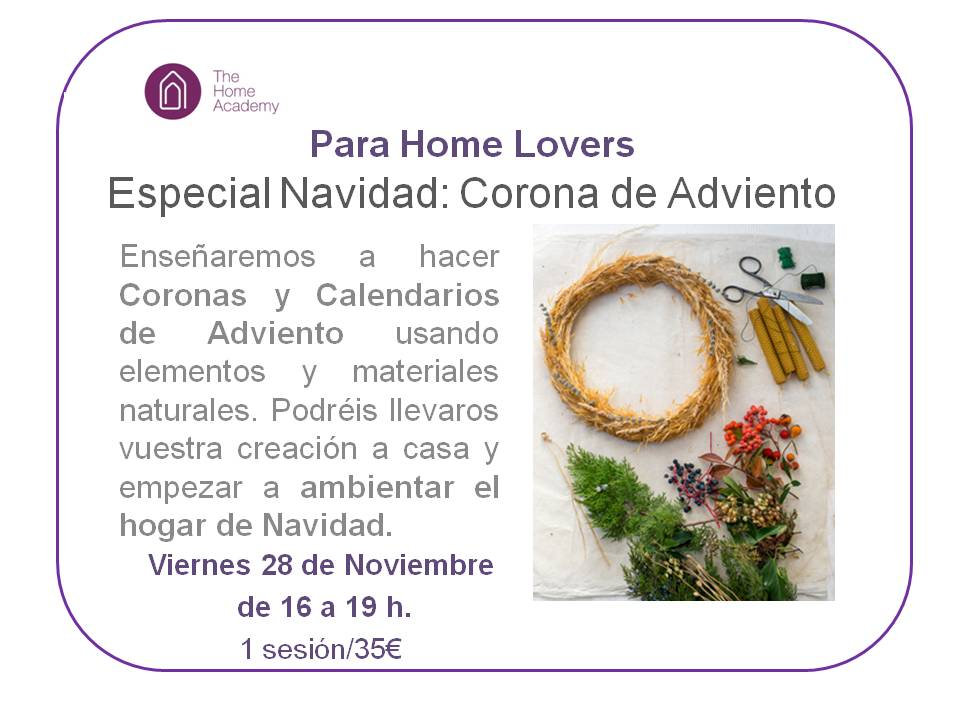 The Home Academy curso  corona adviento nov